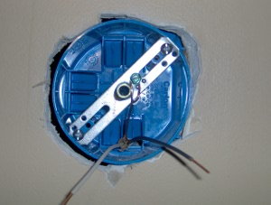 Light Fixture Box With Mounting Bracket Installed